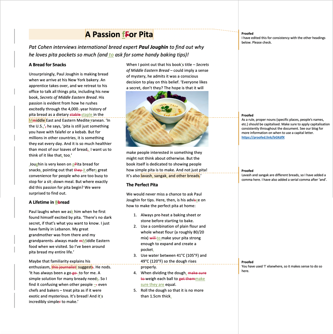 Magazine proofreading example after editing