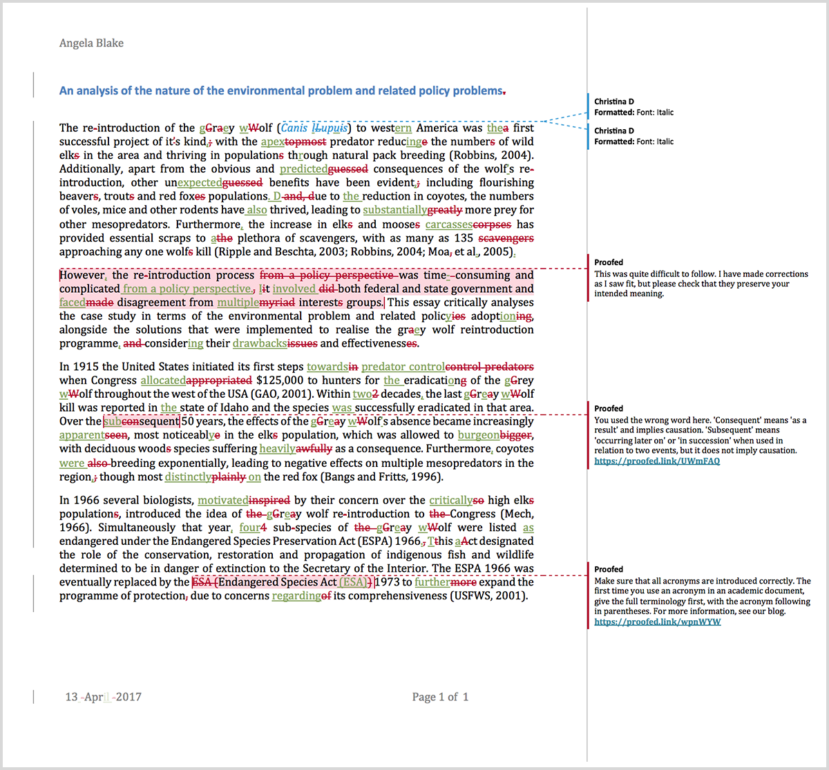 Microsoft Word proofreading example (after editing)