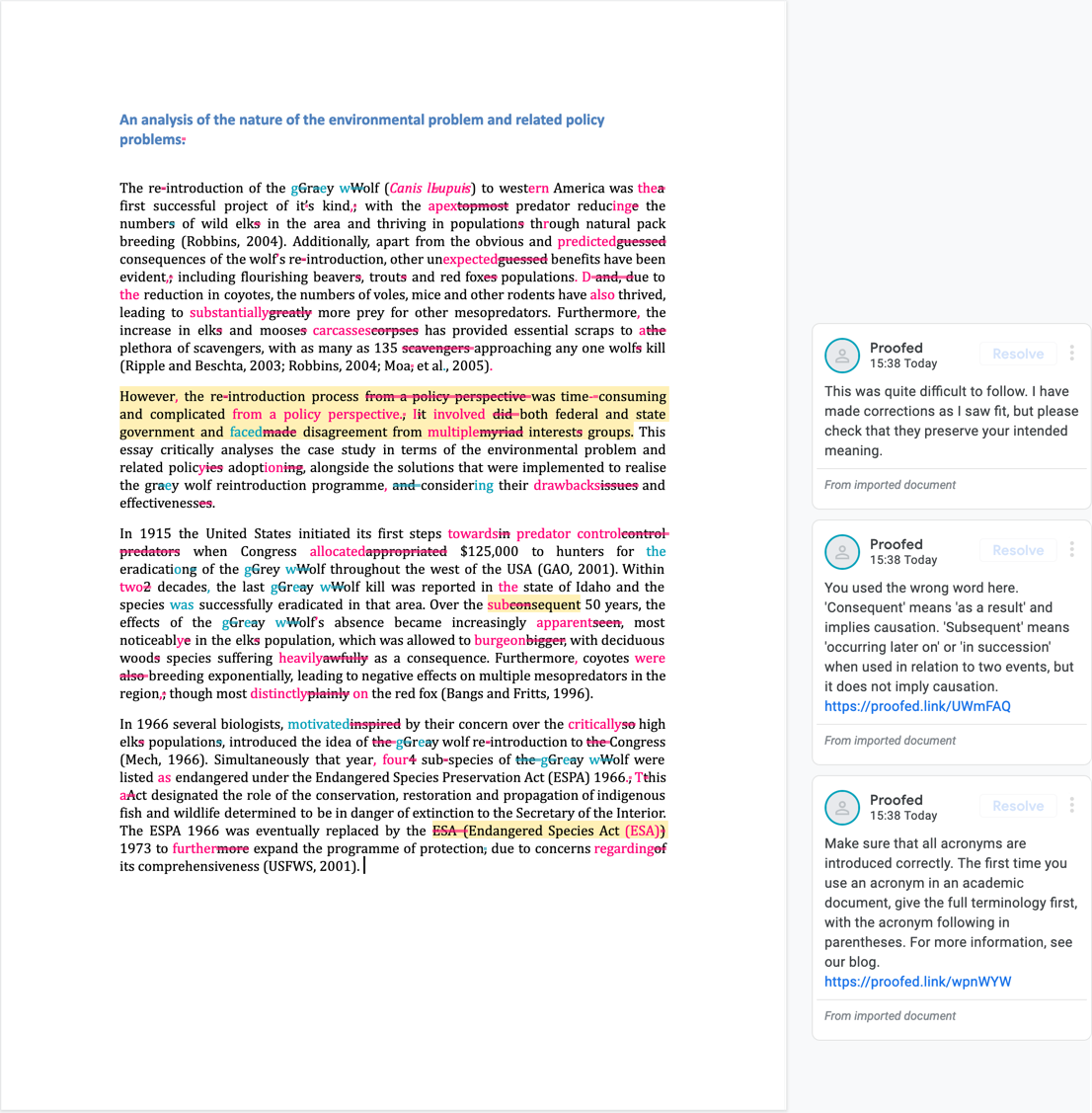 Google Docs proofreading example (after editing)