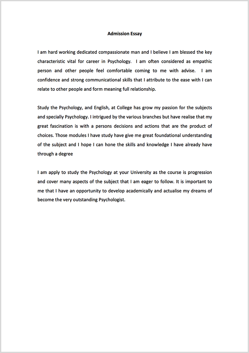 Admission essay proofreading example before editing