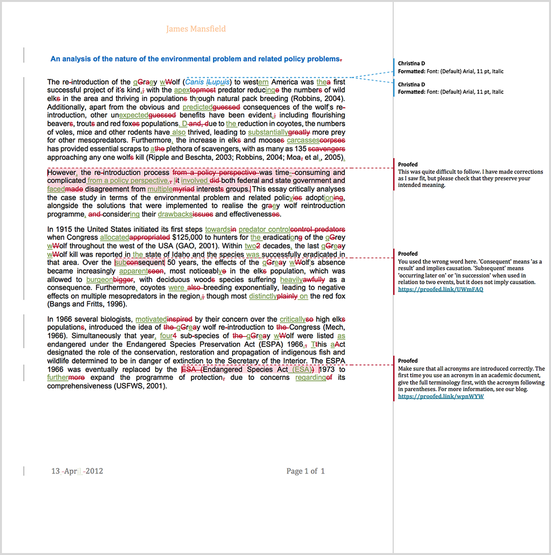 Assignment proofreading example after editing