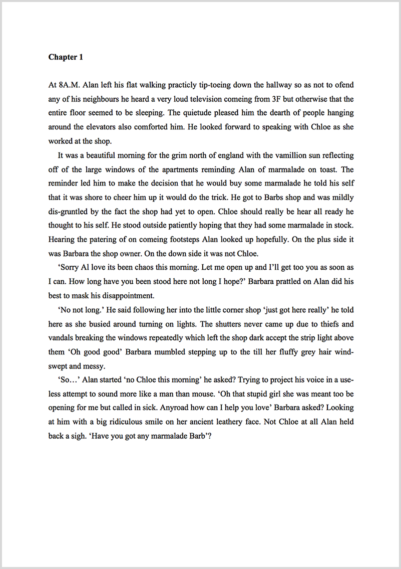 Book proofreading example before editing