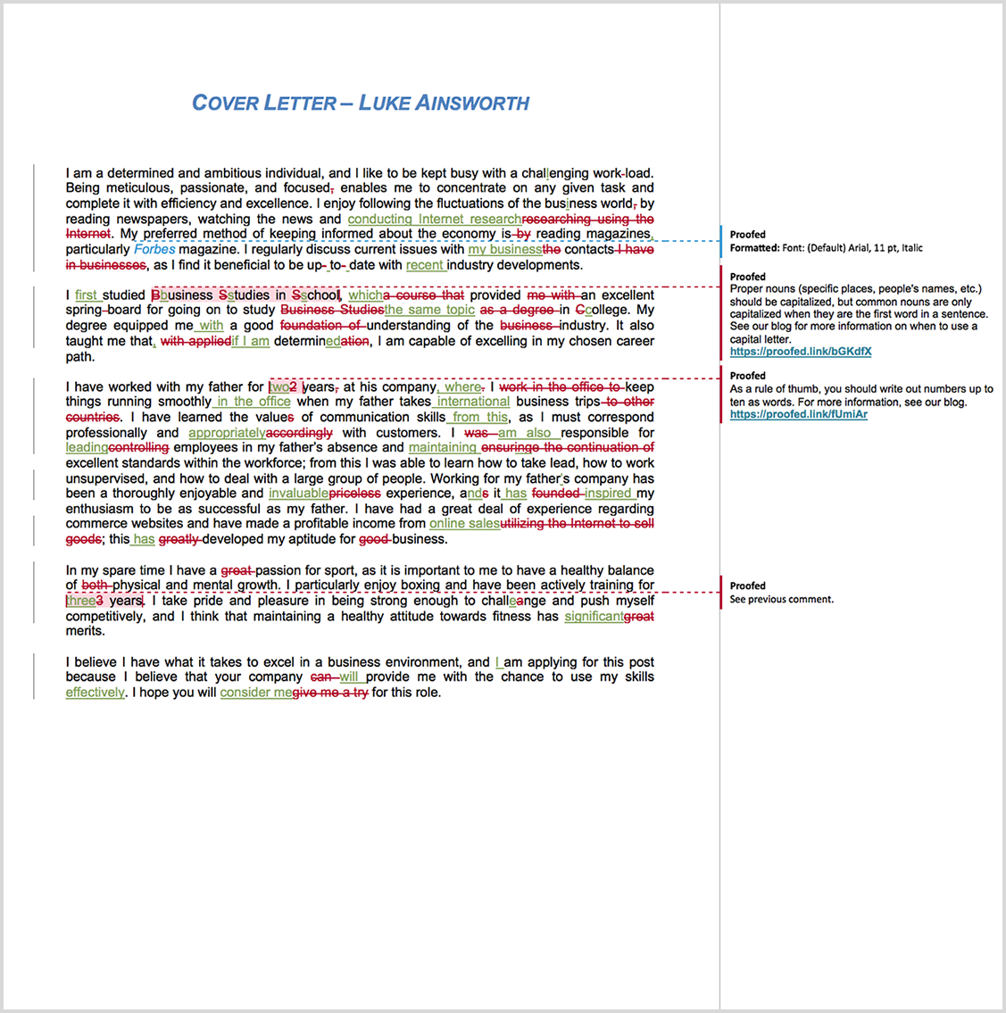 Cover Letter proofreading example before editing