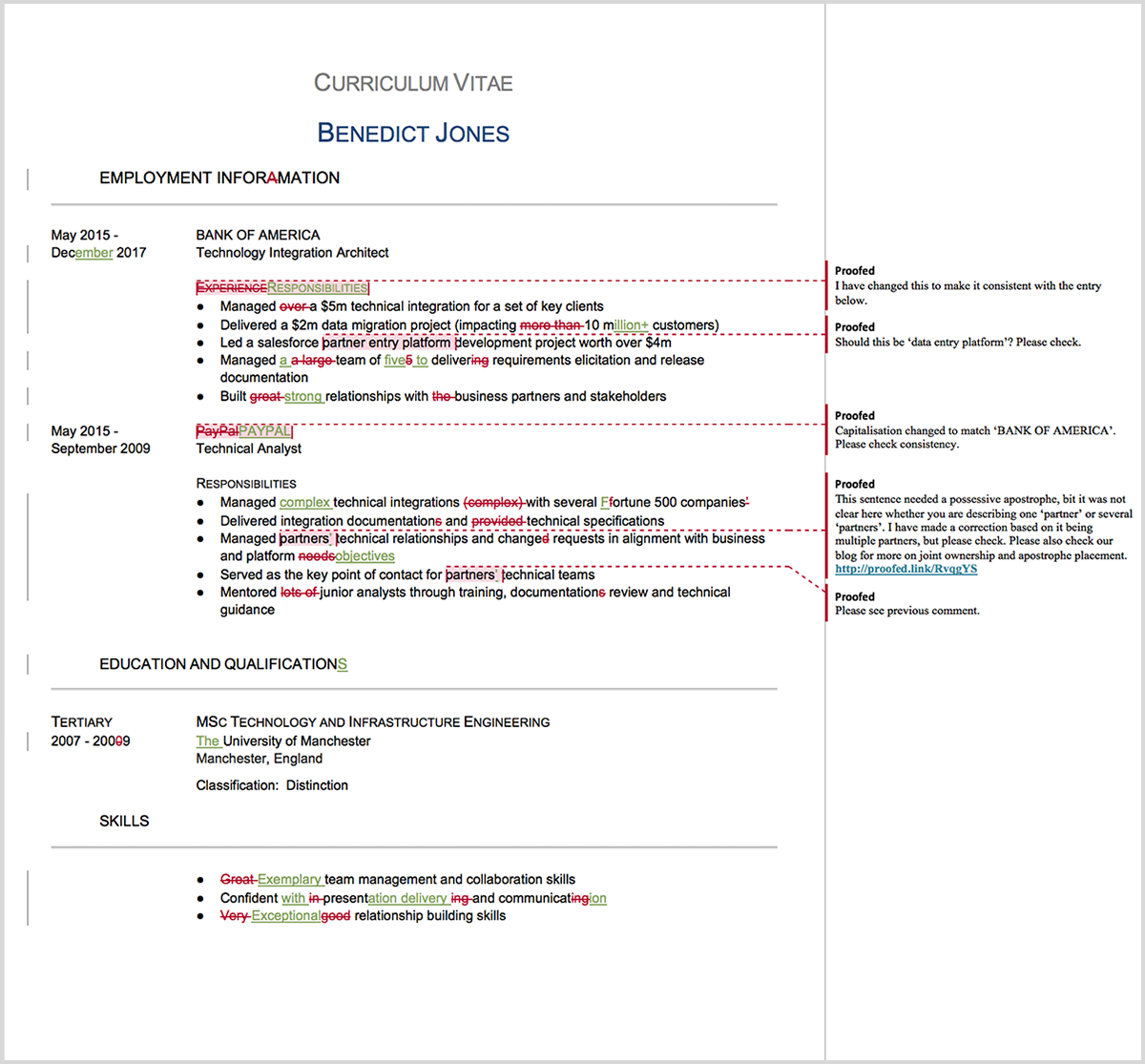 CV proofreading example after editing