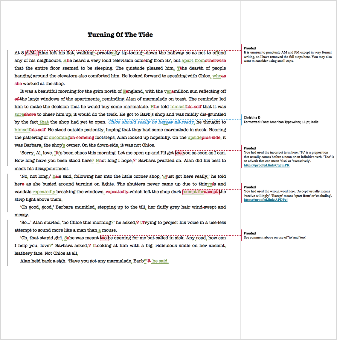 Ebook proofreading example after editing
