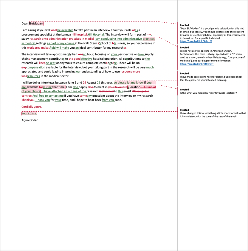 Email proofreading example after editing