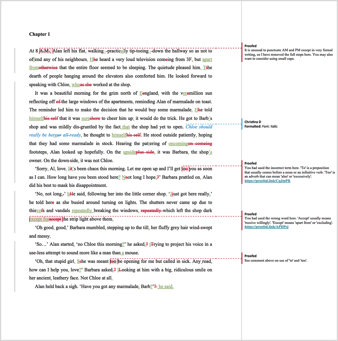 Manuscript proofreading example after editing