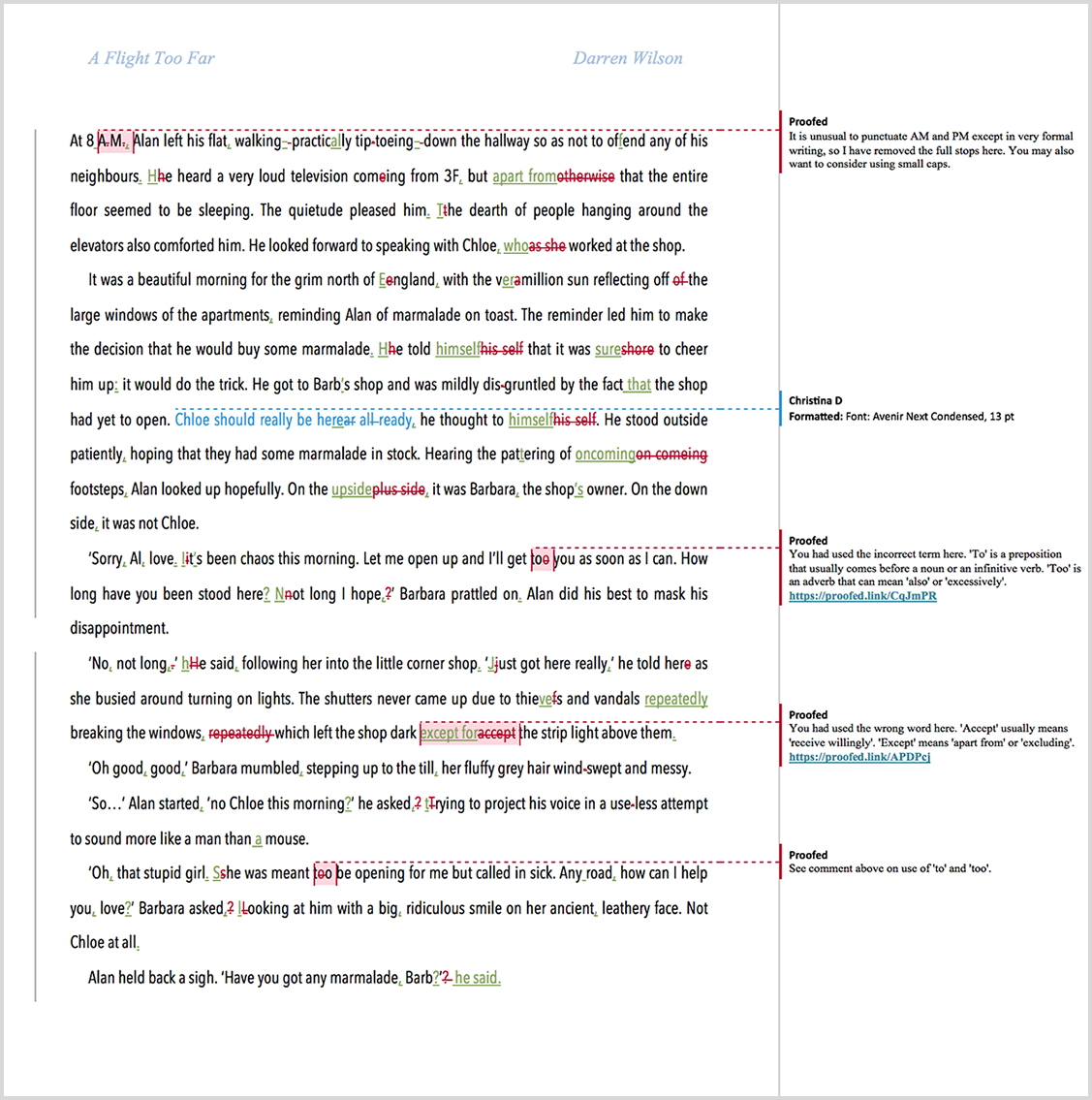 Novel proofreading example after editing
