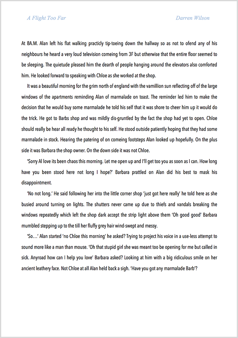 Novel proofreading example before editing