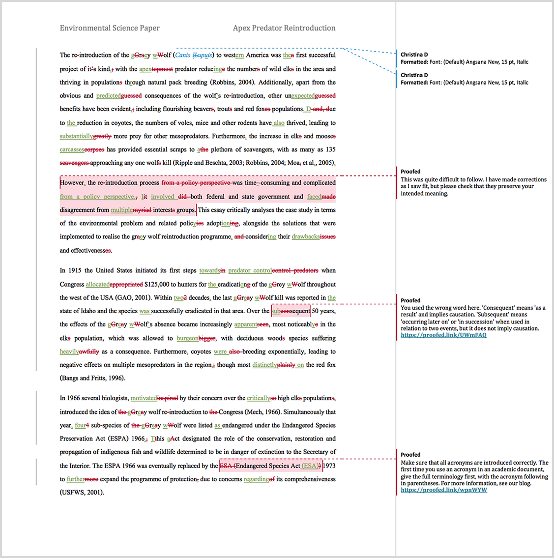 Paper proofreading example after editing