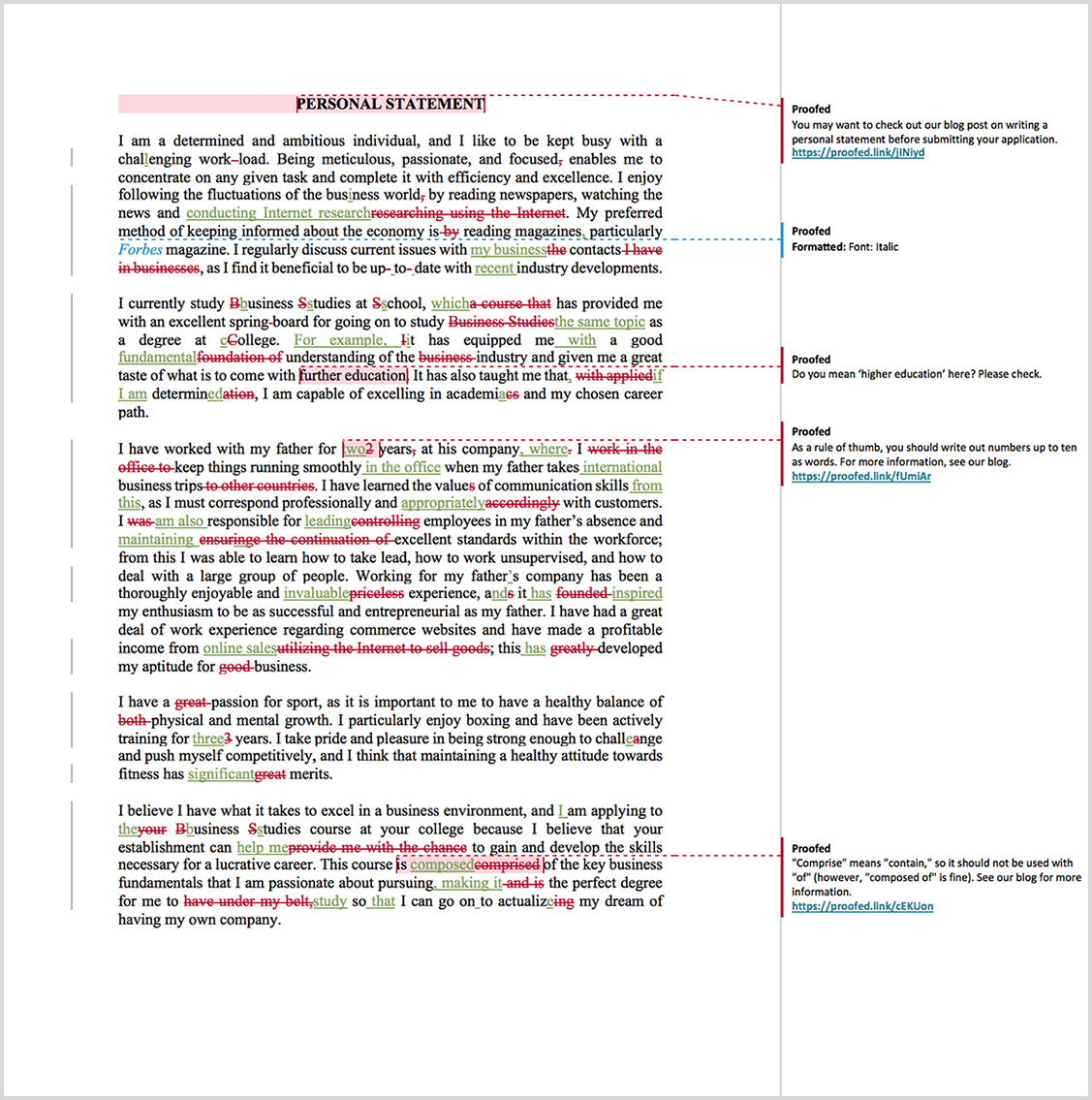 Personal statement proofreading example after editing