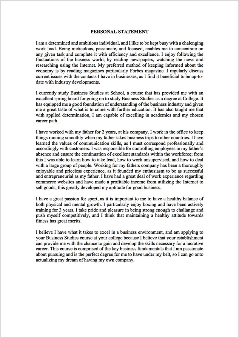Personal statement proofreading example before editing