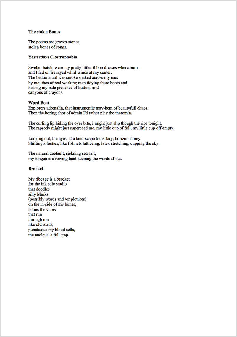 Poetry proofreading example before editing