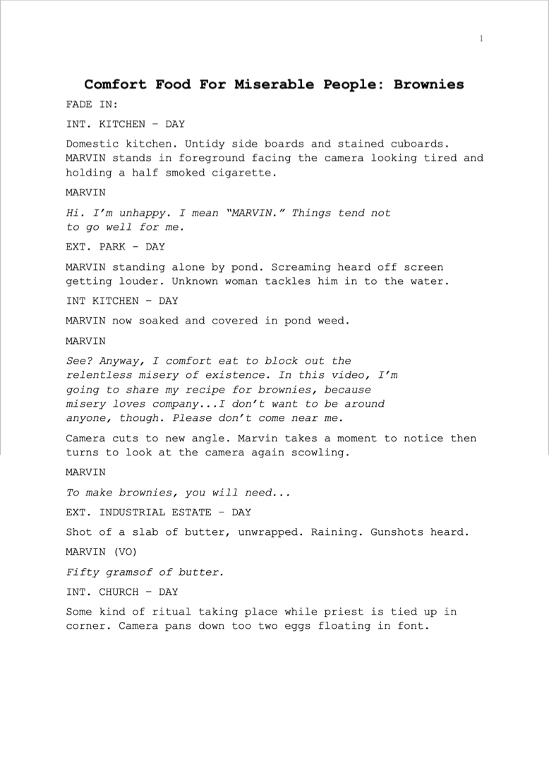Script proofreading example before editing