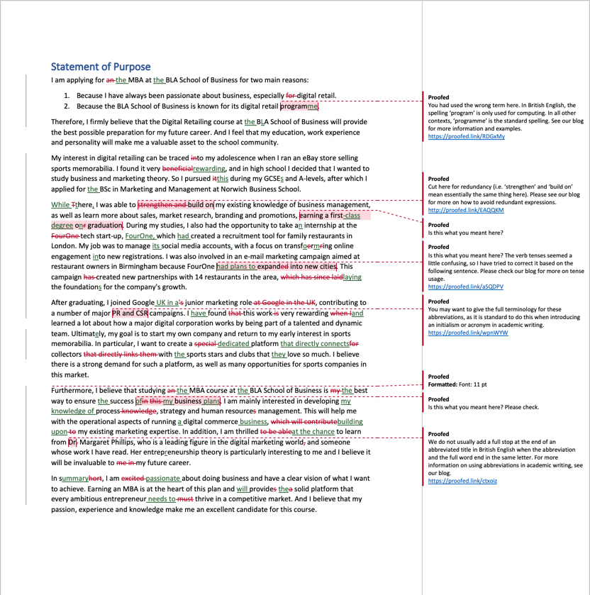 Statement of purpose proofreading example (after editing)