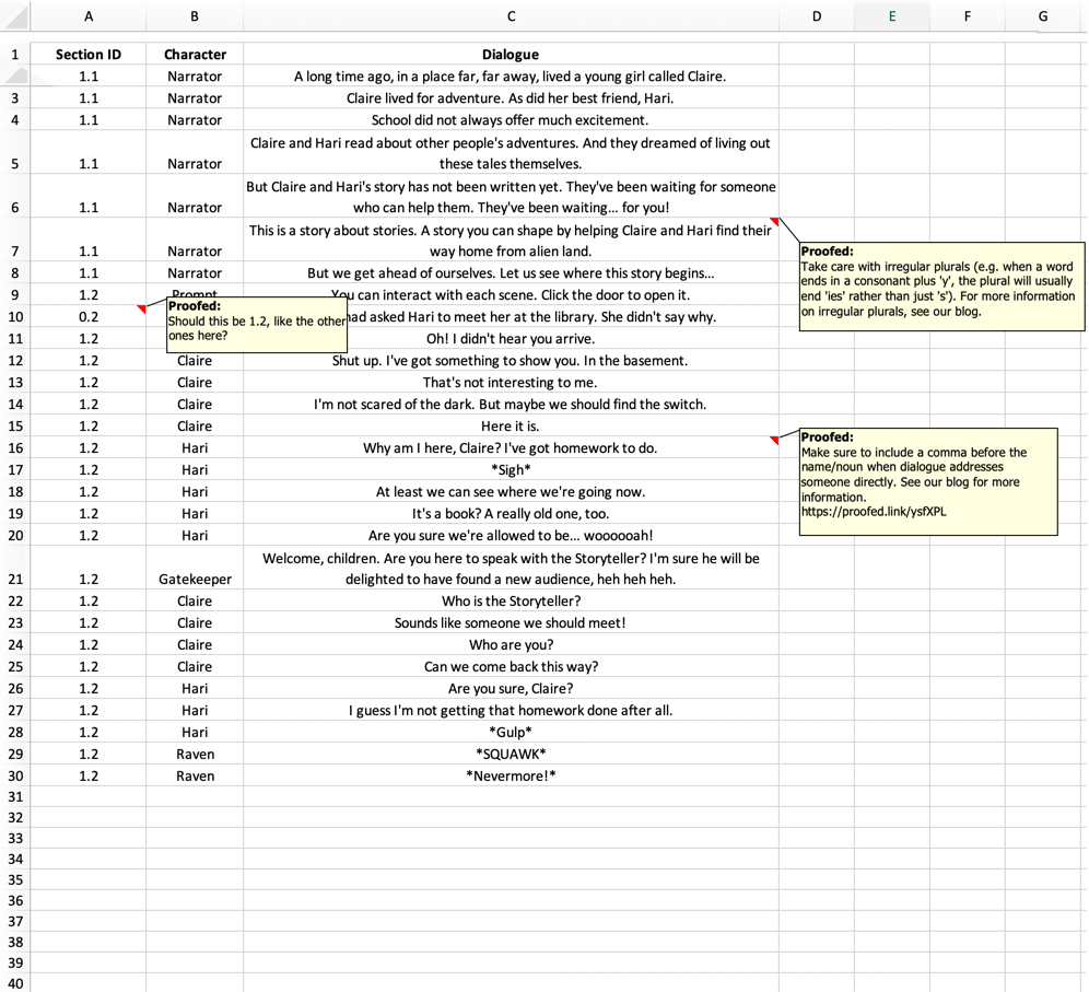Microsoft Excel spreadsheet proofreading example (after editing)
