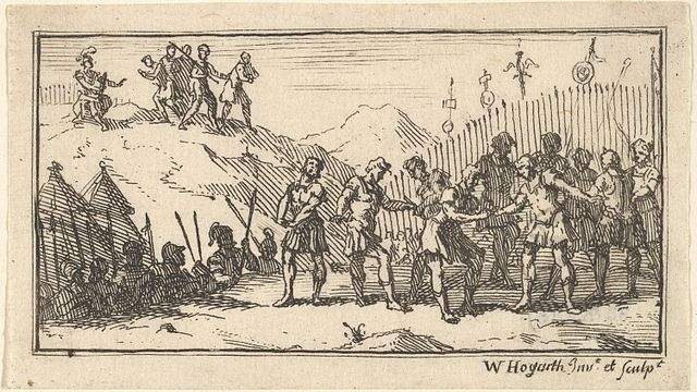 An illustration of Roman decimation by William Hogarth from Beaver's Roman Military Punishments.