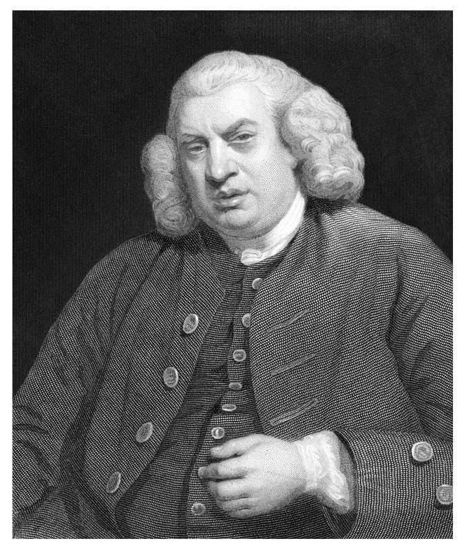 A portrait of Dr Johnson.