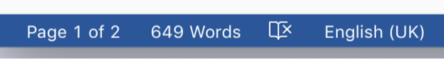 The word count on the status bar in Microsoft Word.