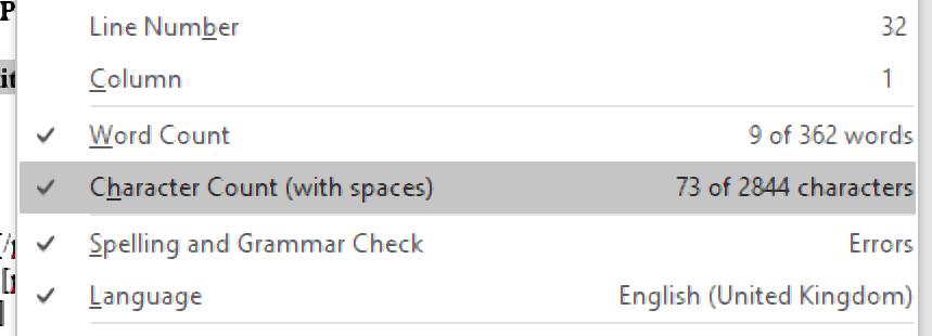 Customising the status bar in Microsoft Word.