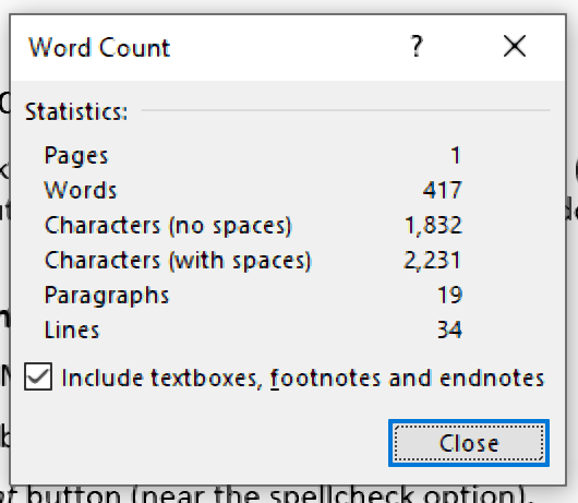 Viewing the word count in Microsoft Word.