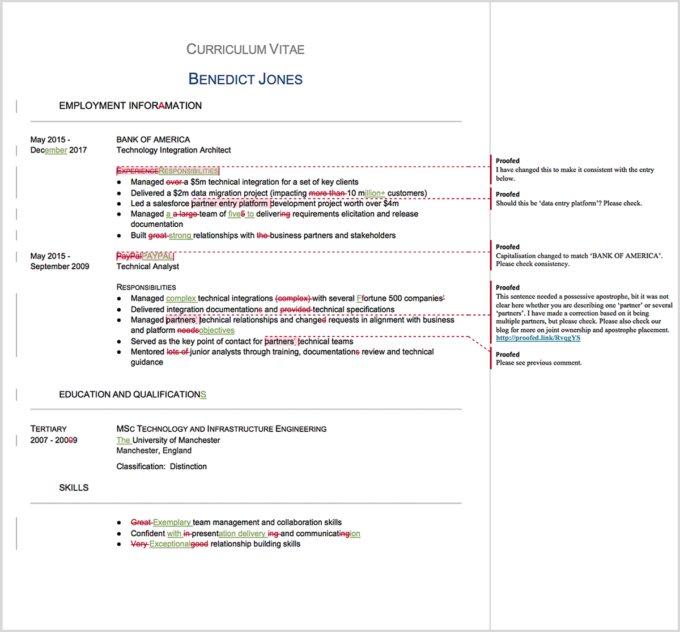 CV Proofreading Example (After Editing)