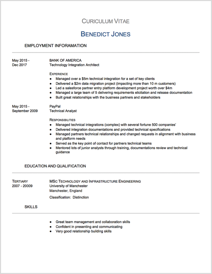 CV Proofreading Example (Before Editing)