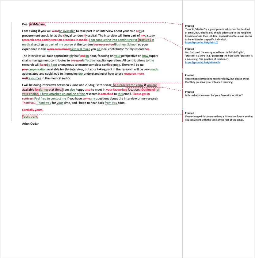 Email Proofreading Example (After Editing)