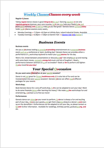 Website Proofreading Example (After Editing)