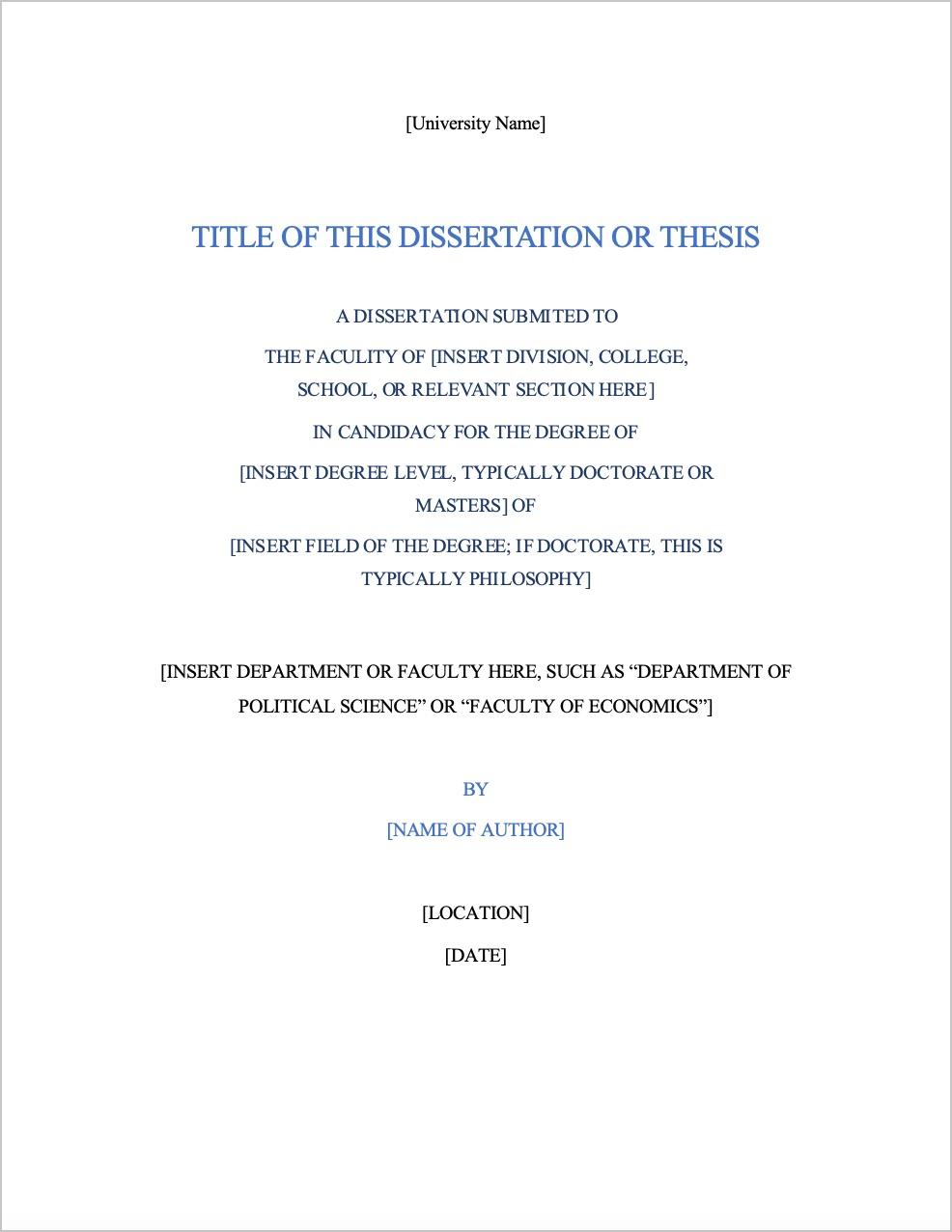 Dissertation Formatting Example