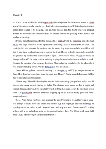 MS Word Proofreading Example (Before Editing)