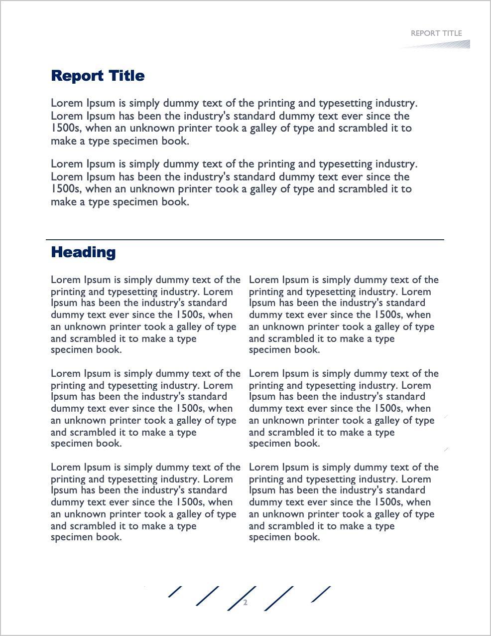 Report Formatting Example