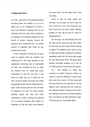 Short Story Proofreading Example (Before Editing)