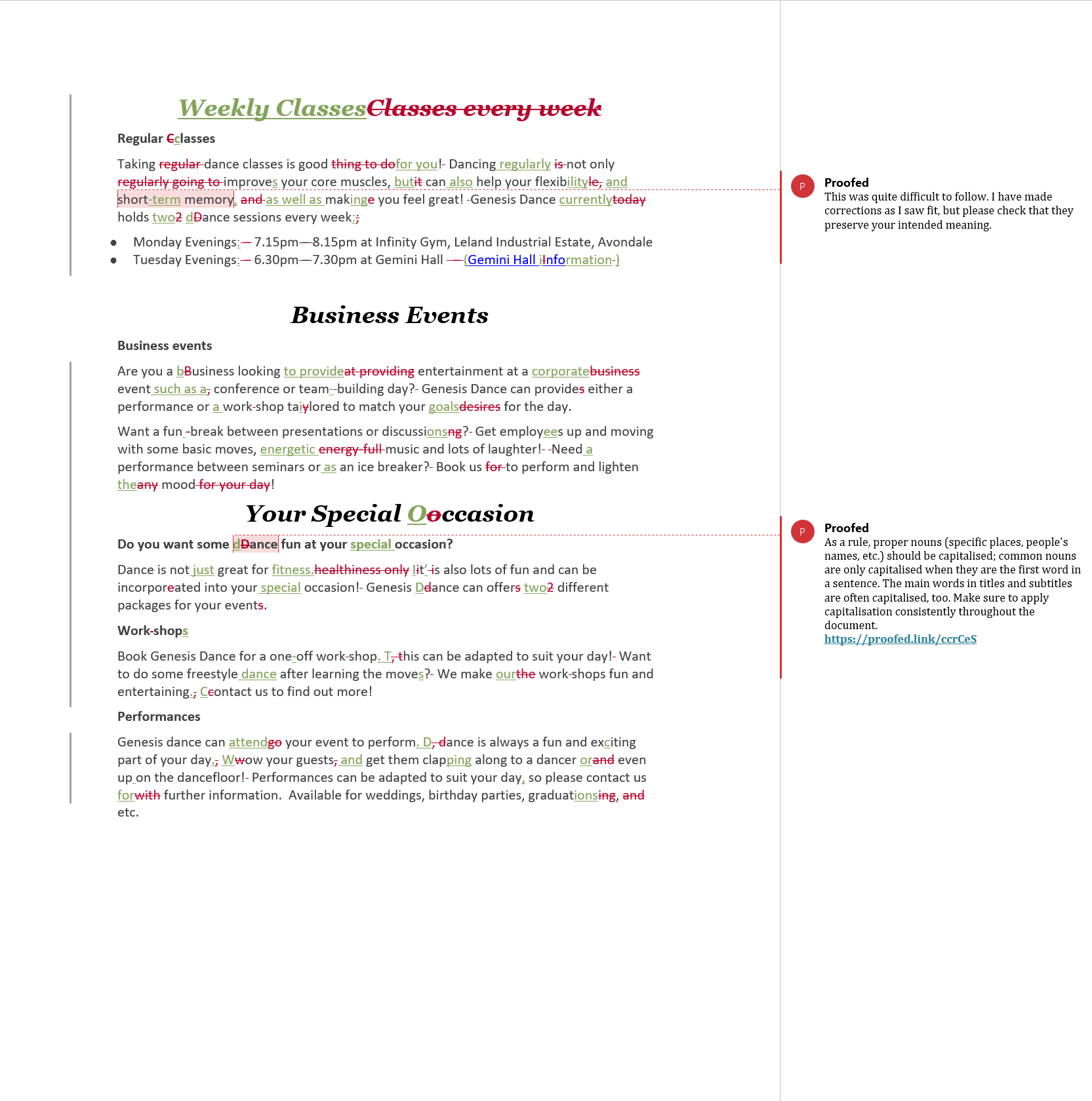 Website Proofreading Example (Before Editing)