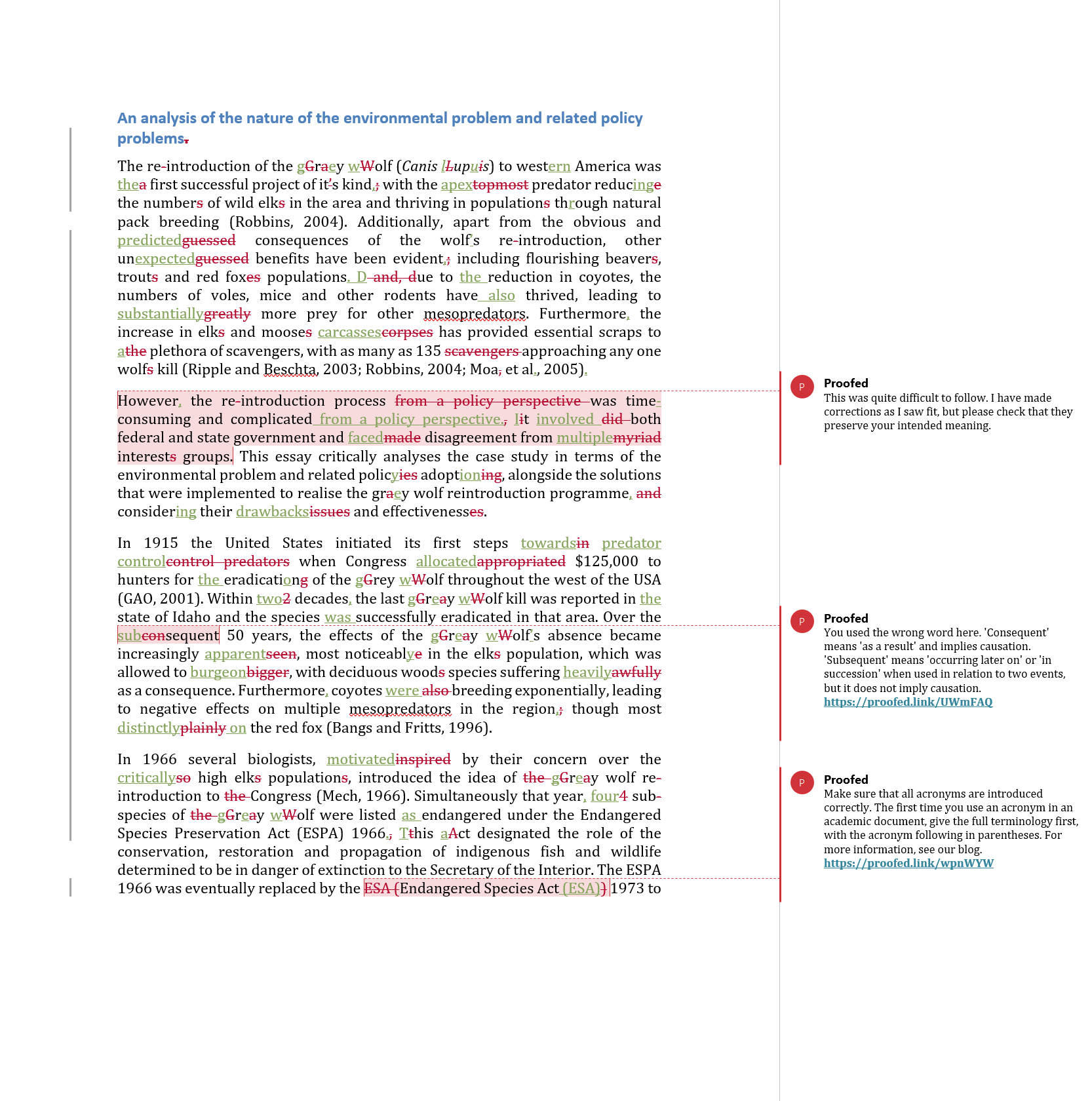 Assignment Proofreading Example (After Editing)