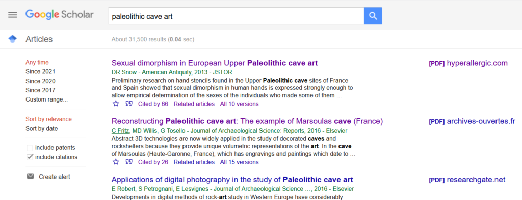 Search results and options in Google Scholar.