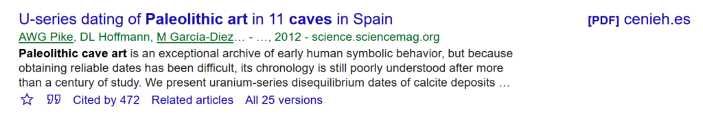 Close-up of a search result in Google Scholar.